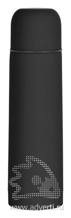Термос «Крит» с прорезиненным покрытием, черный