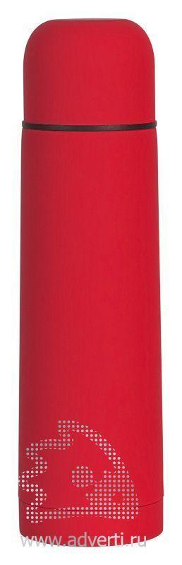 Термос «Крит» с прорезиненным покрытием, красный