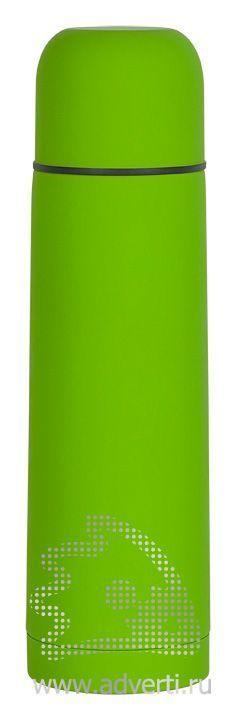 Термос «Крит» с прорезиненным покрытием, зеленый