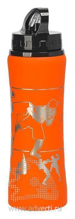 Бутылка спортивная «Санторини» с прорезиненным покрытием, оранжевая с примером нанесения