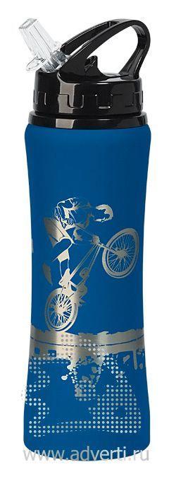 Бутылка спортивная «Санторини» с прорезиненным покрытием, синяя с примером нанесения
