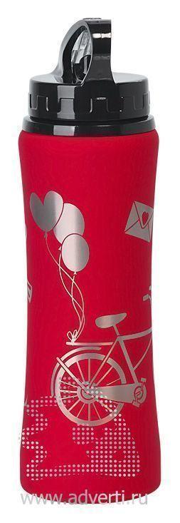 Бутылка спортивная «Санторини» с прорезиненным покрытием, красная с примером нанесения