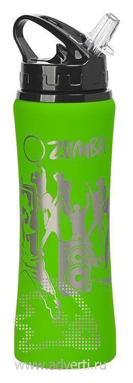 Бутылка спортивная «Санторини» с прорезиненным покрытием, зеленая с примером нанесения