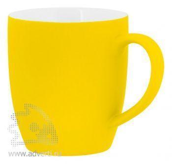 Кружка конусная с прорезиненной поверхностью, желтая