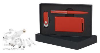 Набор ручка + флеш-карта в футляре, красный