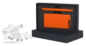 Набор ручка + источник энергии в футляре, оранжевый