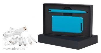 Набор ручка + источник энергии в футляре, голубой