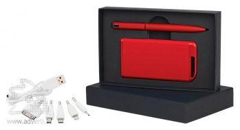 Набор ручка + источник энергии в футляре, красный