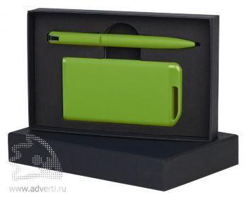 Набор ручка + источник энергии в футляре, зеленый