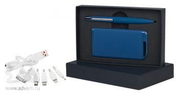 Набор ручка + источник энергии 4000 mAh в футляре, темно-синий