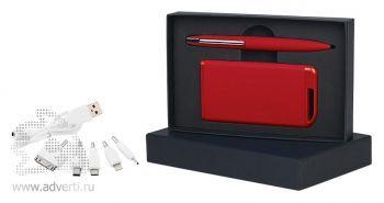 Набор ручка + источник энергии 4000 mAh в футляре, красный