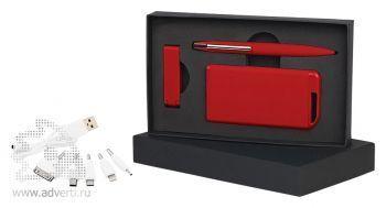 Набор ручка + флеш-карта + источник энергии 4000 mAh в футляре, красный