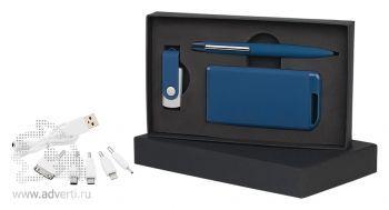 Набор ручка + флеш-карта 8Гб + источник энергии 4000 mAh в футляре, темно-синий