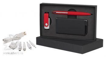 Набор ручка + флеш-карта 8Гб + источник энергии 4000 mAh в футляре, черный с красным