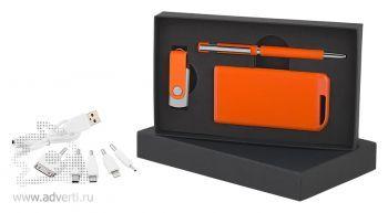 Набор ручка + флеш-карта 8/16Гб + источник энергии в футляре, оранжевый