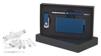 Набор ручка + флеш-карта 8/16Гб + источник энергии в футляре, темно-синий
