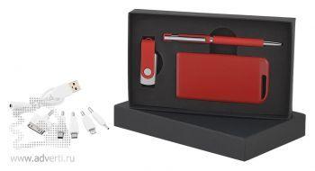 Набор ручка + флеш-карта 8/16Гб + источник энергии в футляре, красный