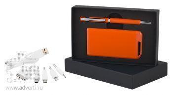 Набор ручка + источник энергии 4000 mAh в футляре, оранжевый