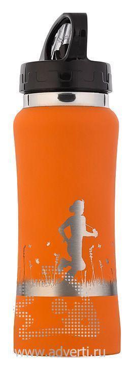 Бутылка спортивная «Индиана» с прорезиненной поверхностью, оранжевая, пример нанесения