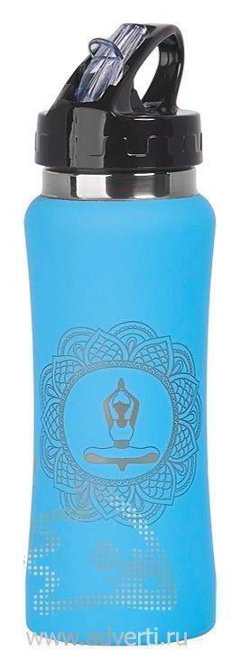Бутылка спортивная «Индиана» с прорезиненной поверхностью, голубая, пример нанесения