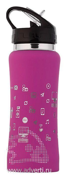 Бутылка спортивная «Индиана» с прорезиненной поверхностью, розовая, пример нанесения