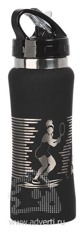 Бутылка спортивная «Индиана» с прорезиненной поверхностью, черная