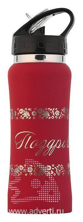 Бутылка спортивная «Индиана» с прорезиненной поверхностью, красная, пример нанесения