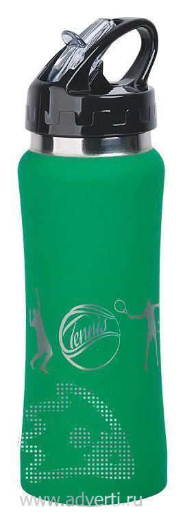 Бутылка спортивная «Индиана» с прорезиненной поверхностью, зеленая