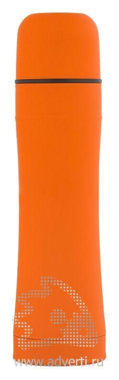 Термос с прорезиненной поверхностью, оранжевый