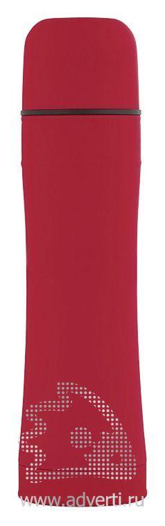 Термос с прорезиненной поверхностью, красный