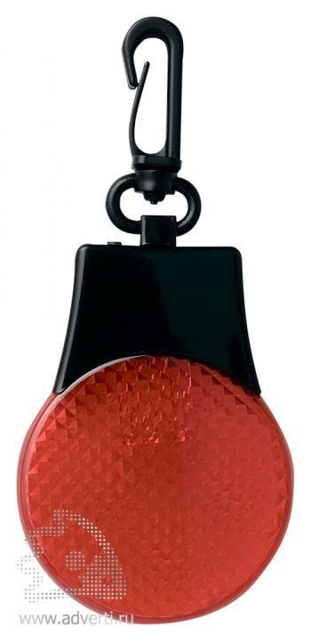 Светодиодный светоотражатель «Adam» с карабином, красный