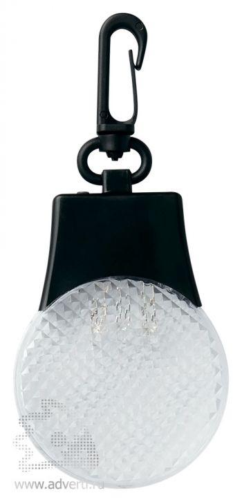 Светодиодный светоотражатель «Adam» с карабином, белый