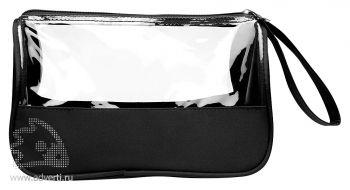 Косметичка «Plas» из микрофибры с прозрачными окнами, черная