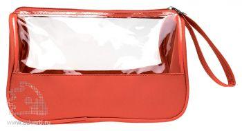Косметичка «Plas» из микрофибры с прозрачными окнами, красная