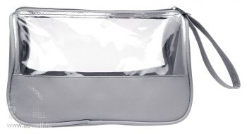 Косметичка «Plas» из микрофибры с прозрачными окнами, серая