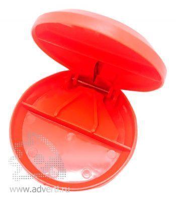 Таблетница с разрезателем таблетки, красная