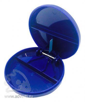Таблетница с разрезателем таблетки, синяя