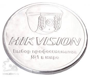 Шоколадные медали 25 г, серебряная фольга