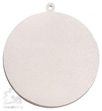 Оборот двухсторонней металлической медали, серебристой