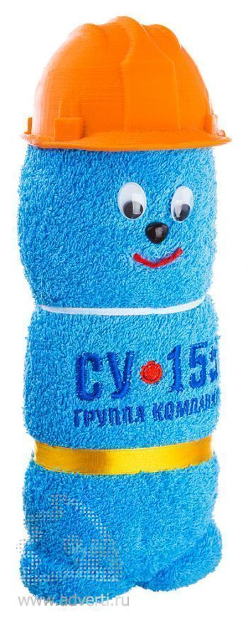 Полотенца-фигурки «Мордашки», в строительной каске, синие