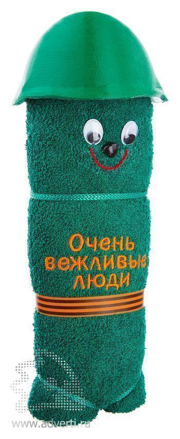 Полотенца-фигурки «Мордашки», в военной каске, зеленые