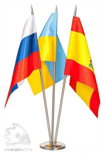 Флажок настольный с 2 или 3 никелевыми флагштоками