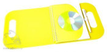Блокнот на пружине с вырубной ручкой, с держателем под CD, открытый