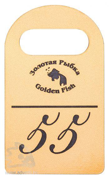 Номерки для гардероба из двухслойного пластика, основа - светло-золотистый, гравировка - черный, матовые