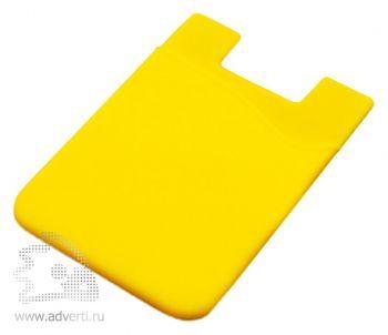 Кармашек для телефона на 3М скотче для визиток, кредиток, желтый