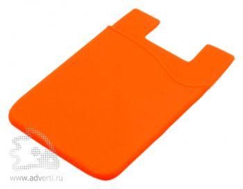 Кармашек для телефона на 3М скотче для визиток, кредиток, оранжевый