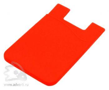 Кармашек для телефона на 3М скотче для визиток, кредиток, красный