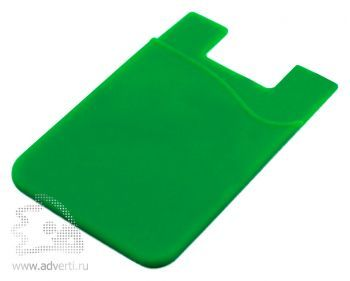 Кармашек для телефона на 3М скотче для визиток, кредиток, зеленый