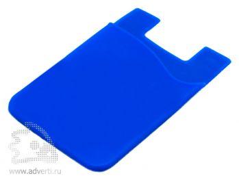Кармашек для телефона на 3М скотче для визиток, кредиток, синий