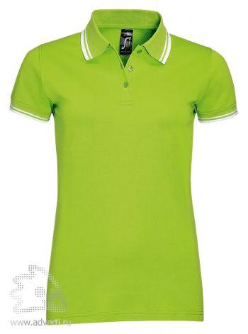 Рубашка поло «Pasadena women 200», женская, ярко-зеленая с белым